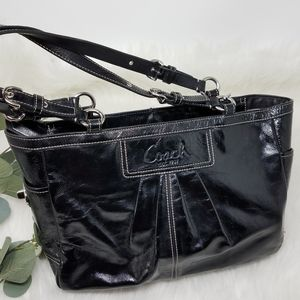 COACH Pleated Patent Leather EastWest Tote Handbag
